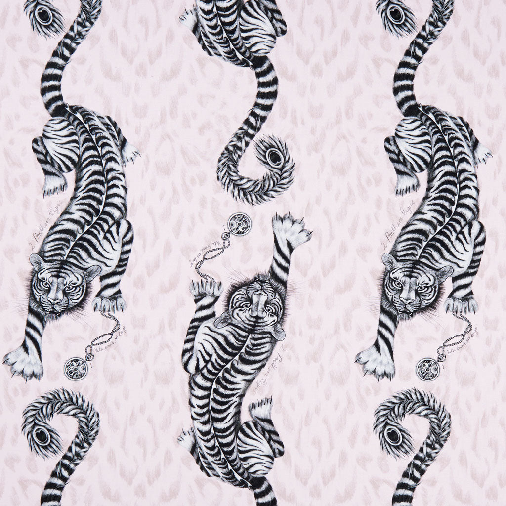 The pink Tigris design on the Animalia fabric by Emma J Shipley x Clarke & Clarke