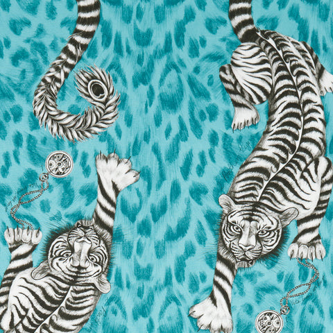 The teal Tigris design on the Animalia fabric by Emma J Shipley x Clarke & Clarke