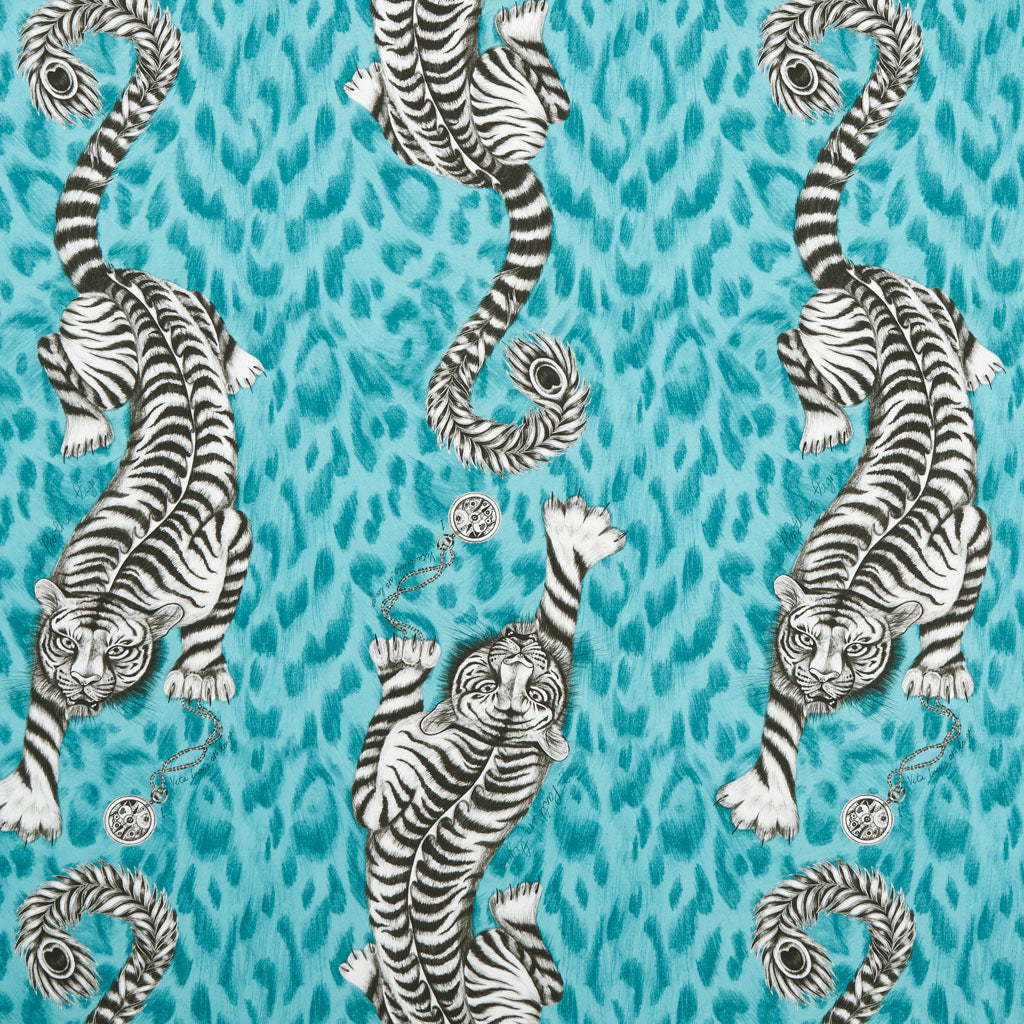 The powerful , flamboyant Tigris design on the Animalia fabric by Emma J Shipley x Clarke & Clarke
