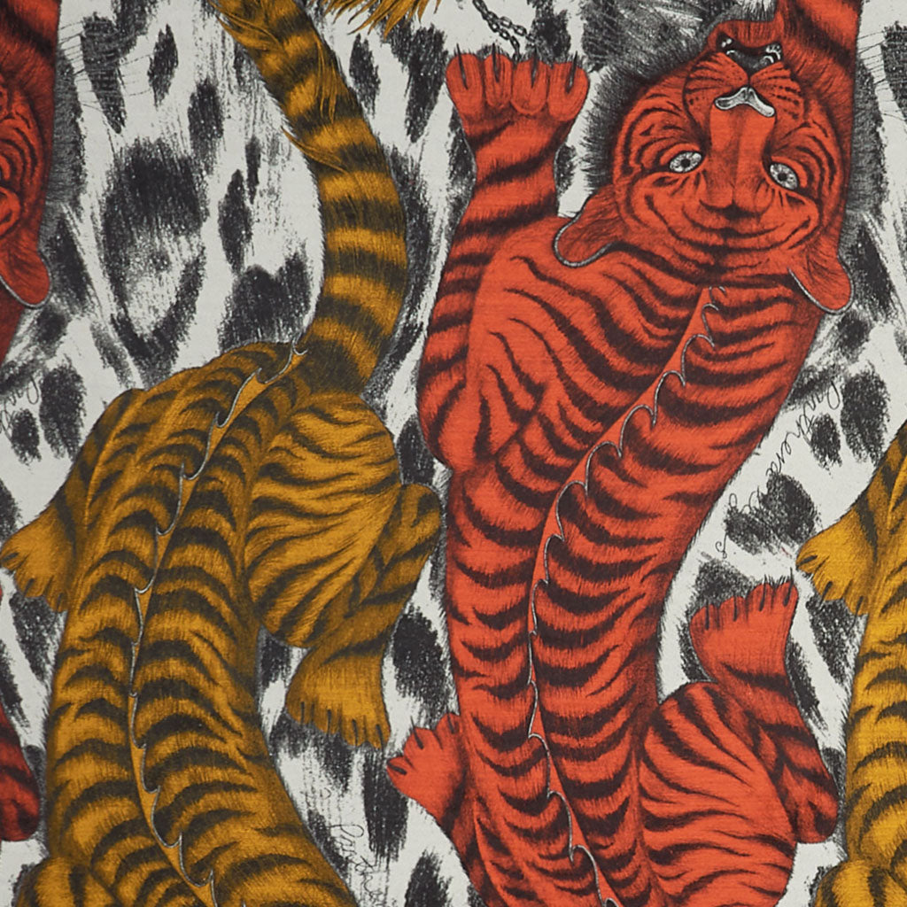 Detail of a bold graphic throw featuring tigers, woven in super soft silk and merino wool