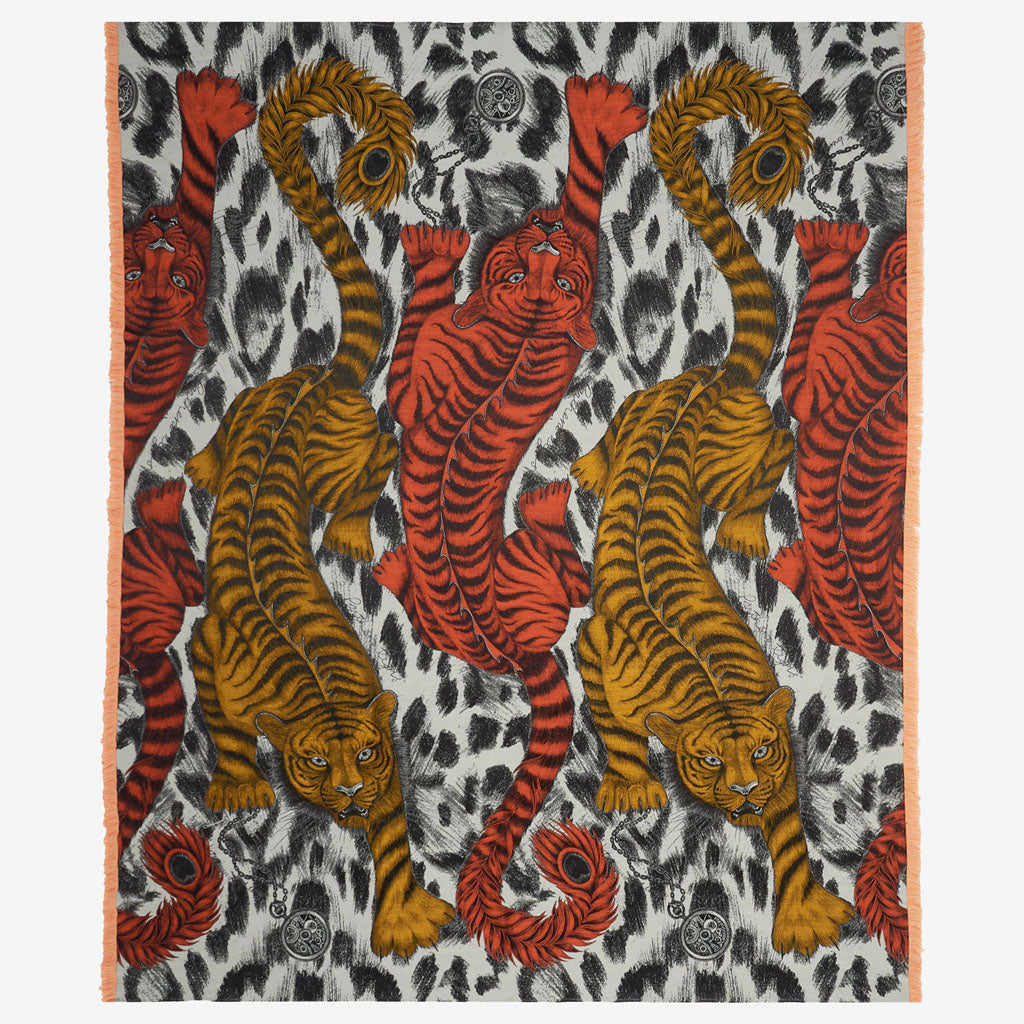 Emma J Shipley Tigris throw in luxury silk and wool, with orange and golden yellow tigers