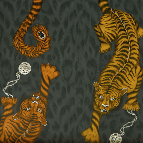 The stunningly striking Tigris wallpaper design by Emma J Shipley x Clarke & Clarke