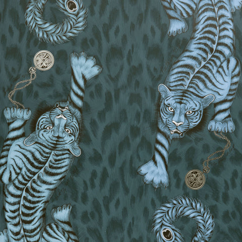 The mysterious Tigris wallpaper designed by Emma J Shipley x Clarke & Clarke in beautiful navy