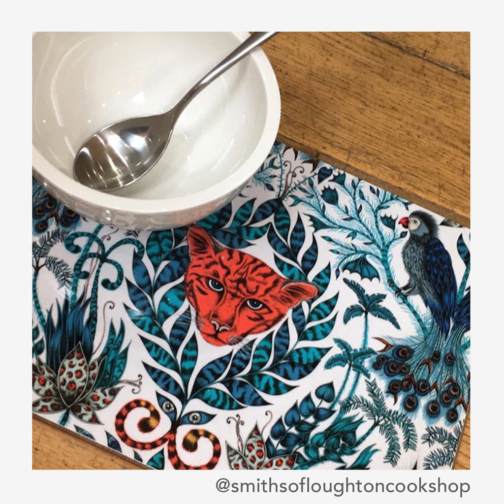 Start the day off brightly with the Amazon Placemat Medium, created by Emma J Shipley for Jamida