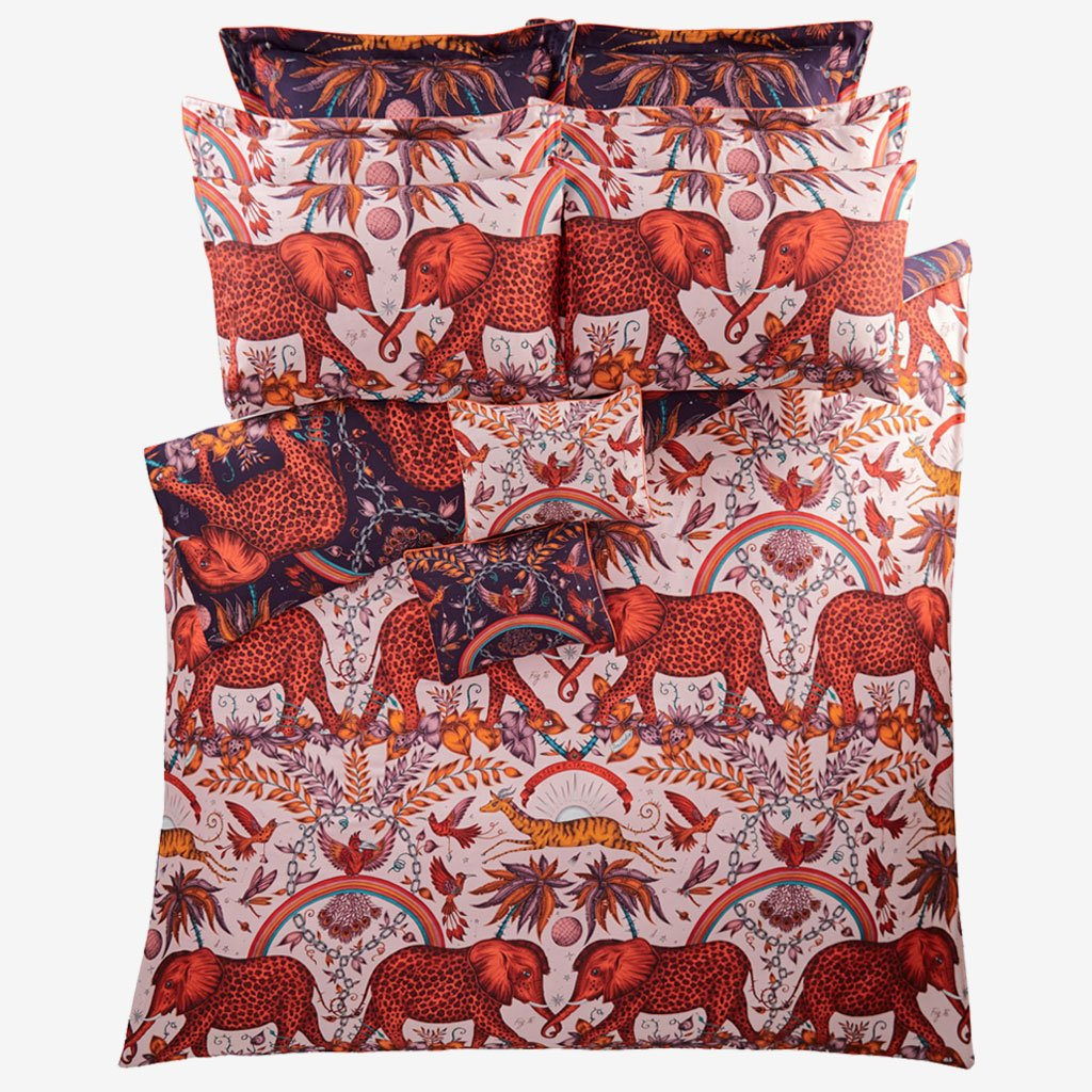 The zambezi duvet cover with matching pillowcases, is completely reversible meaning you have two sets in one! Illustrated by Emma J Shipley