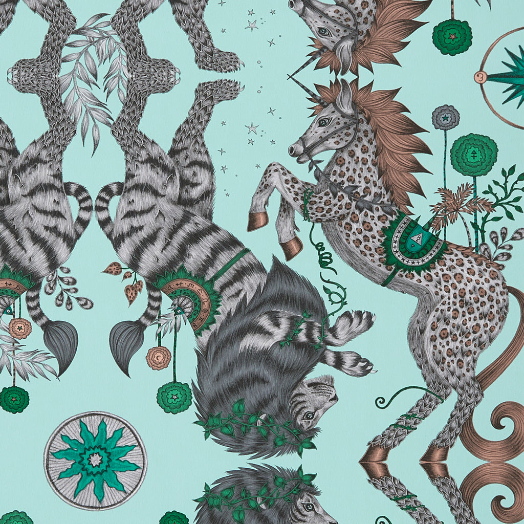The Caspian Wallpaper features a lion and unicorn design inspired by The Chronicles of Narnia. From our magical Wilderie collaboration with interior experts Clarke & Clarke, designed by Emma J Shipley