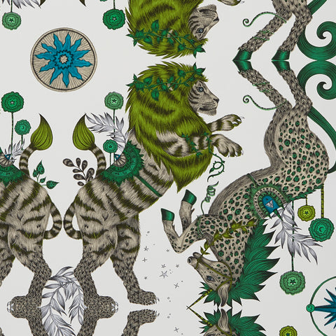 A close view of Caspian Wallpaper in Lime, showing a detailed look at the green maned Lions and spotted  Unicorns. Designed by Emma J Shipley as part of the Wilderie collection in collaboration with Clarke & Clarke