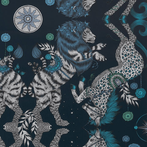A close view of Caspian Wallpaper in Navy, the deep blue grey unicorns and british lions showing all the detail that's hand drawn and designed by Emma J Shipley as part of the Wilderie collection