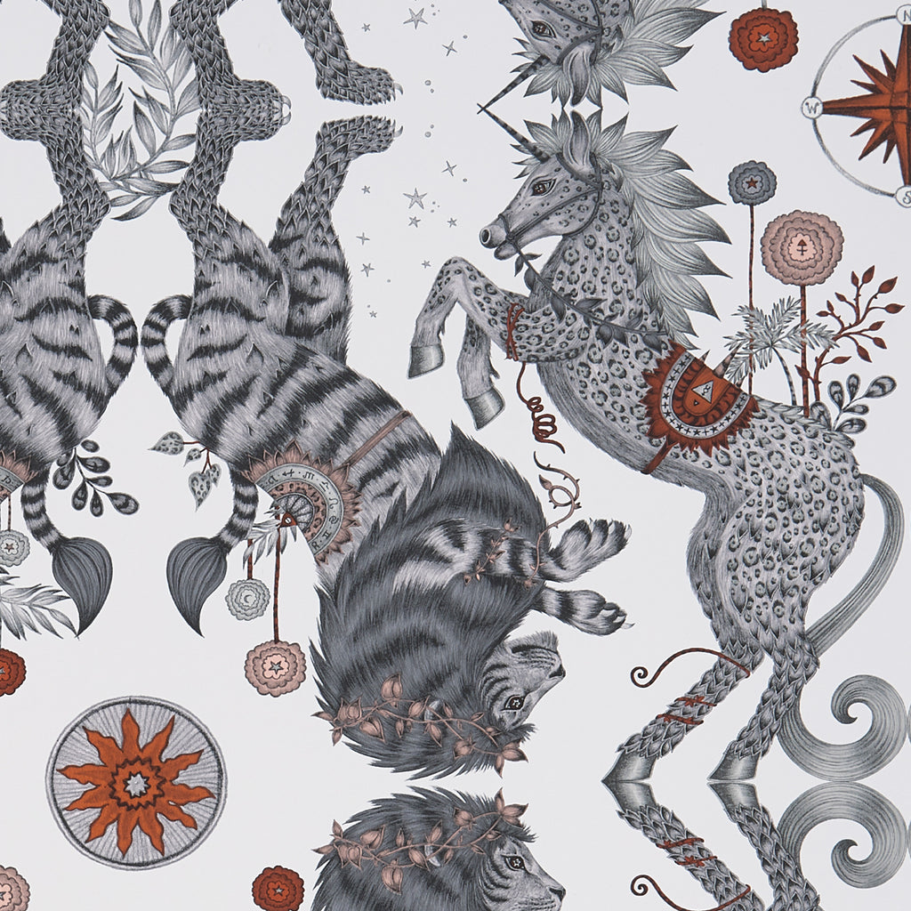 A close view of Caspian Wallpaper in Nude, giving a good close up of the detailed Lions and Unicorns. Designed by Emma J Shipley as part of the Wilderie collection with Clarke & Clarke