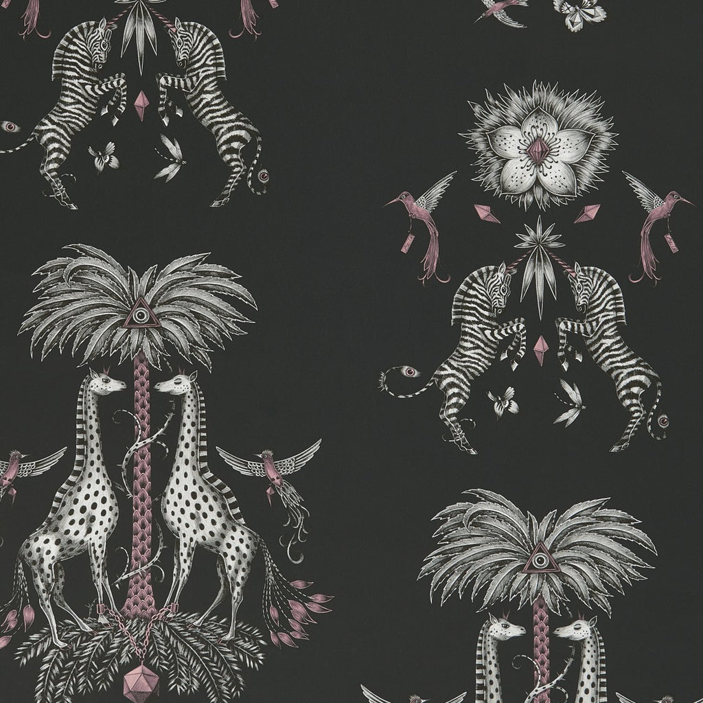 A close view of Creatura Wallpaper in Grey, showing a detailed look at the Giraffes, Palms and Zebra and showing the flecks of pink detailing that make this wallpaper so magical. Designed by Emma J Shipley as part of the Wilderie collection that will add a touch of animal wilderie to any interior