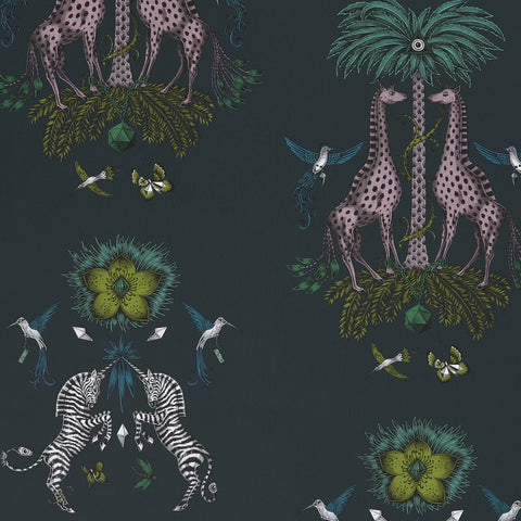A close view of Creatura Wallpaper in Teal, showing a detailed look at the Giraffes, Palms and Zebra with the pops of teal and pink that make this wallpaper so vibrant. Designed by Emma J Shipley as part of the Wilderie collection with Clarke & Clarke