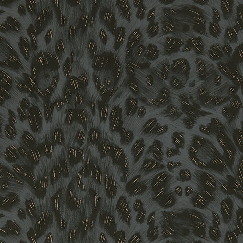 A close view of Felis Wallpaper in Black, showing a detailed look at the texture and colours. It's the perfect complimentary wallpaper for any maximalist interior home. Designed by Emma J Shipley as part of the Wilderie collection