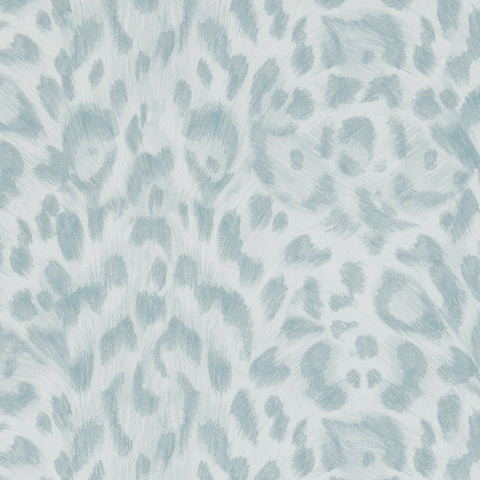 A close view of Felis Wallpaper in duck-egg blue, showing a detailed look at the texture and colours. This wallpaper adds a subtle touch of colour and texture to any room. Designed by Emma J Shipley as part of the Wilderie collection