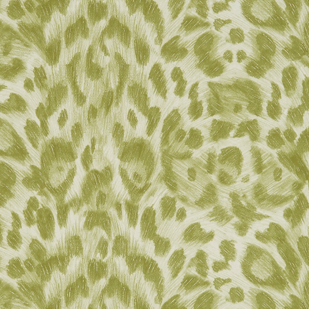A close view of Felis Wallpaper in Lime, showing a detailed look at the texture and colours that add a great complimentary wall to any bright maximalist room. Designed by Emma J Shipley as part of the Wilderie collection