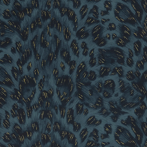 A close view of Felis Wallpaper in Navy, showing a detailed look at the texture, metallic flecks and colours. Designed by Emma J Shipley as part of the Wilderie collection with Clarke & Clarke