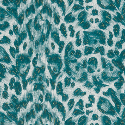 A close view of Felis Wallpaper in the Teal Lime colour-way, showing a detailed look at the texture and colours that work so well to compliment the Wilderie collection patterns. Designed by Emma J Shipley as part of the Wilderie collection