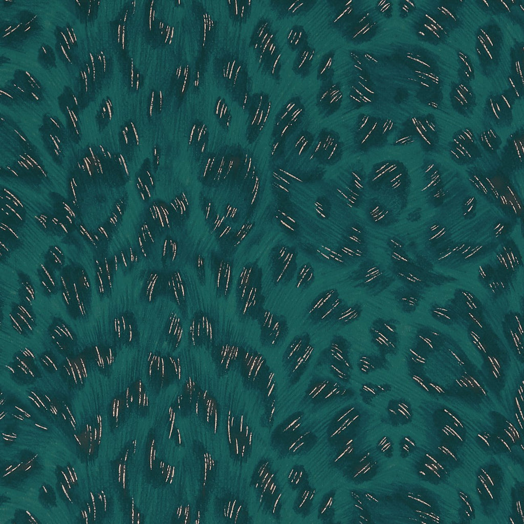 A close view of Felis Wallpaper in Teal Rose Gold, showing a detailed look at the texture and colours, this has a deep green colour with rose gold flecks in it. Designed by Emma J Shipley as part of the Wilderie collection, a lo of which would pair beautifully with this wallpaper