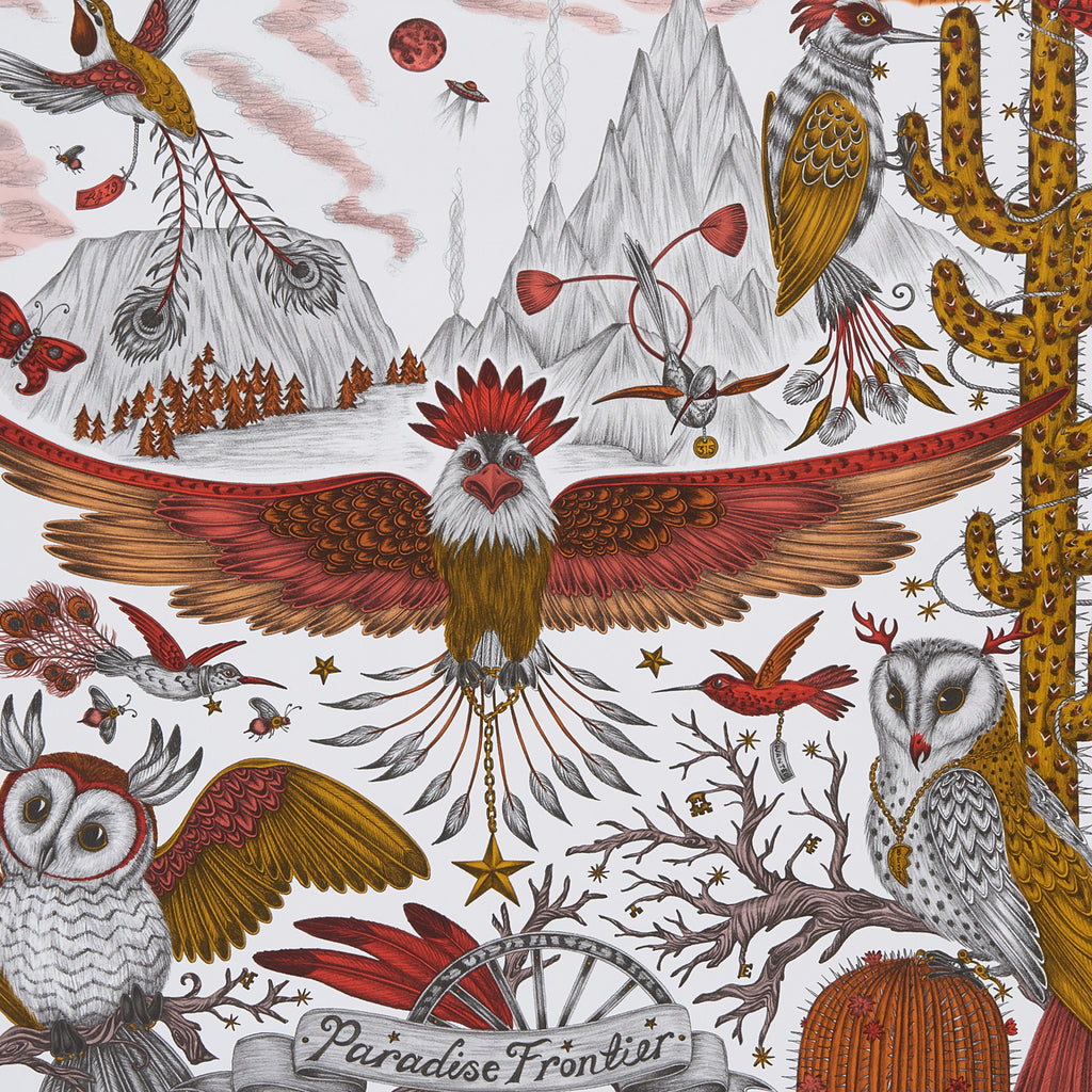 A close view of Frontier Wallpaper in Gold, showing a detailed look at the Owls, Eagle and Cactus. Designed by Emma J Shipley as part of the Wilderie collection