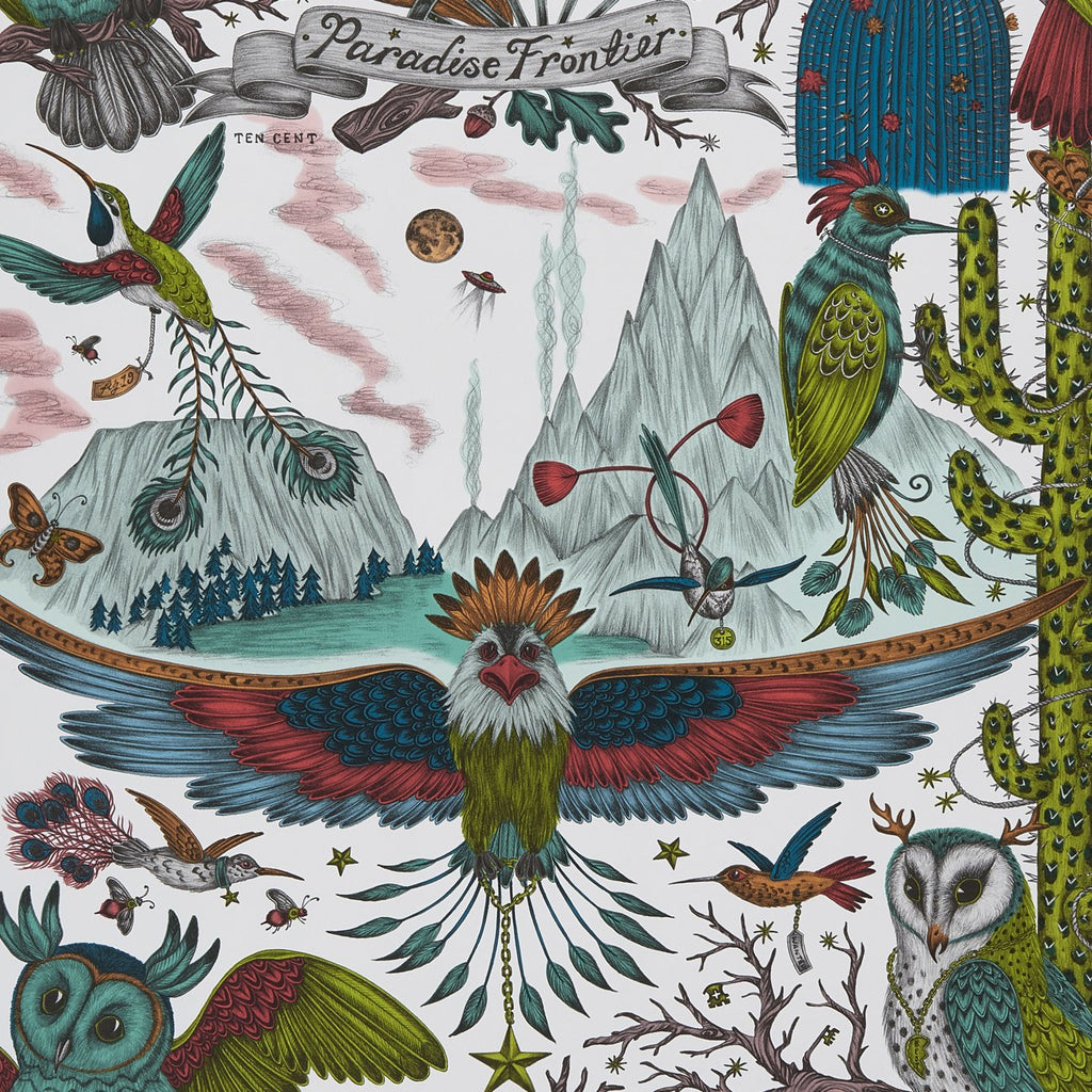A close view of Frontier Wallpaper in Lime, showing a detailed look at the Owls, Eagle and Cactus. Designed by Emma J Shipley as part of the Wilderie collection. This wallpaper has a very fresh theme in the green tones and really puts the Frontier design in a whole new light, it's the perfect maximalist neutral for any scheme in that theme