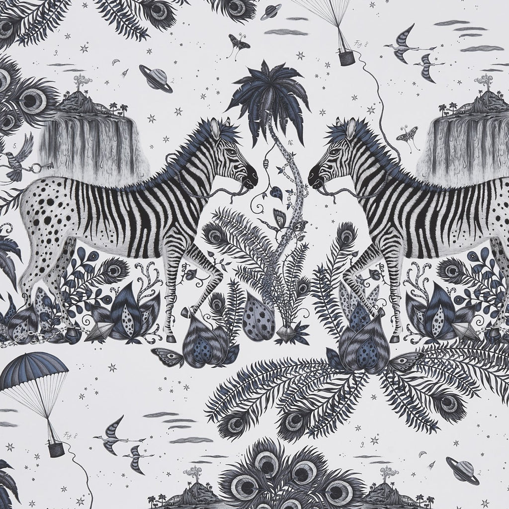 A close view of Lost World Wallpaper in Blue, showing a detailed look at the Owls, Eagle and Cactus. Designed by Emma J Shipley as part of the Wilderie collection
