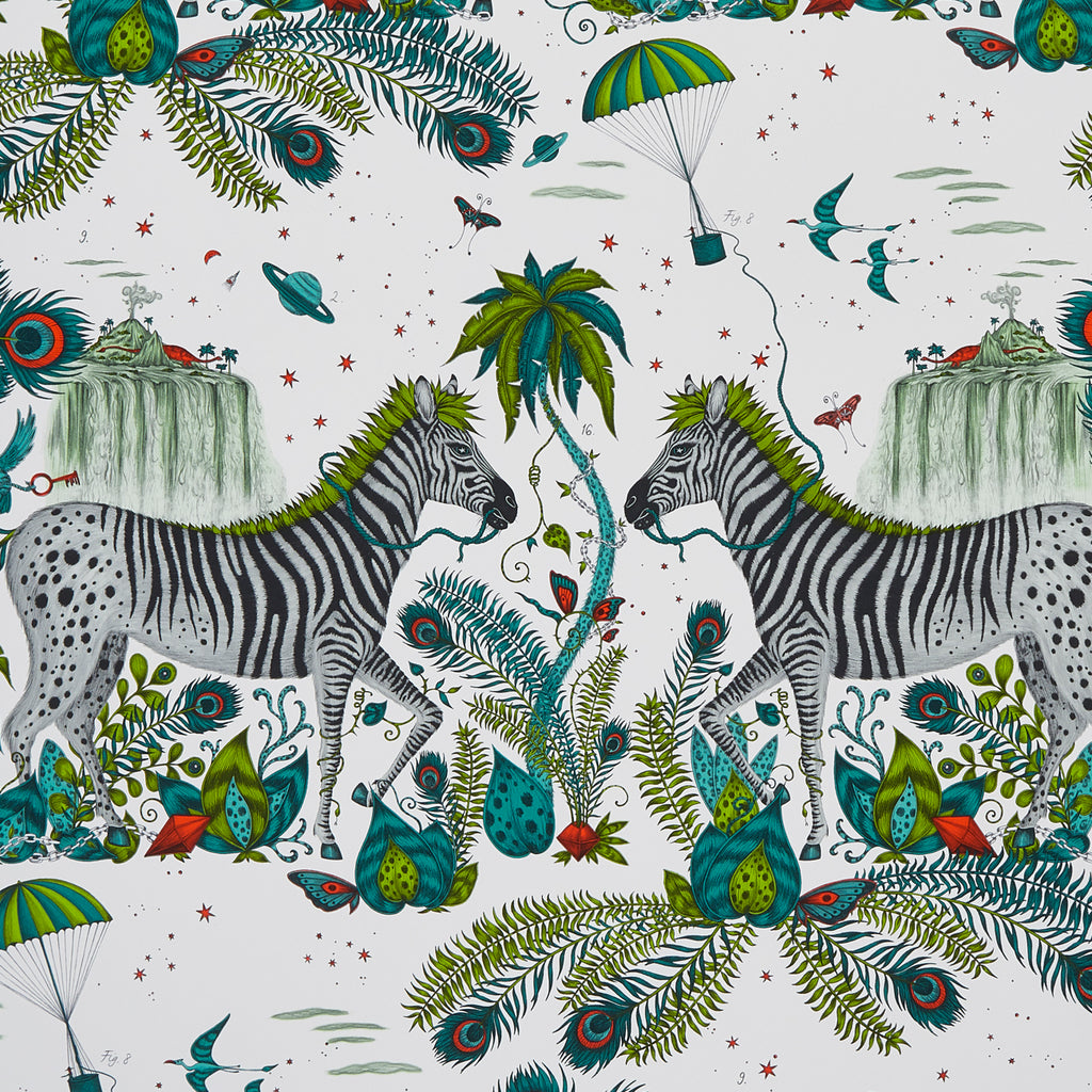 A close view of Lost World Wallpaper in Teal, showing a detailed look at the Owls, Eagle and Cactus. Designed by Emma J Shipley as part of the Wilderie collection