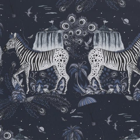 A close view of Lost World Wallpaper in Navy, showing a detailed look at the Zebra. Designed by Emma J Shipley as part of the Wilderie collection