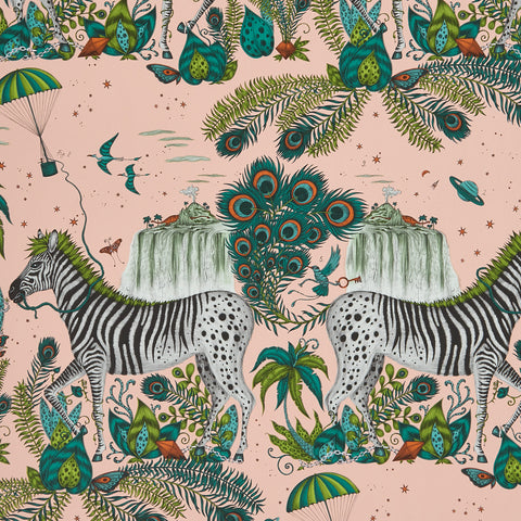 A close view of Lost World Wallpaper in Pink, showing a detailed look at the Zebra. Designed by Emma J Shipley as part of the Wilderie collection