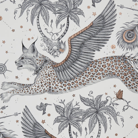 A close view of Lynx Wallpaper in Nude, showing a detailed look at the Lynx. Designed by Emma J Shipley as part of the Wilderie collection