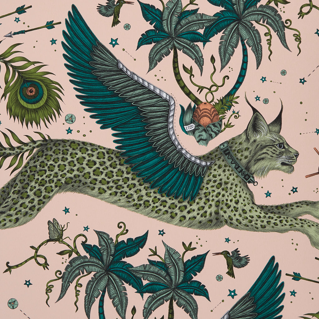 A close view of Lynx Wallpaper in Lime, showing a detailed look at the Lynx. Designed by Emma J Shipley as part of the Wilderie collection