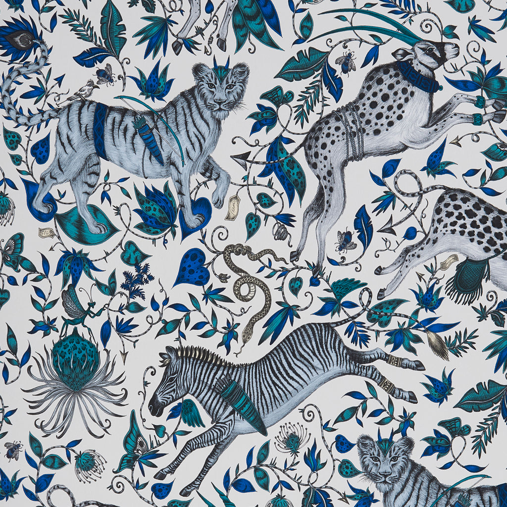 A close view of Protea Wallpaper in Blue, showing a detailed look at the Proteas and Zebras. Designed by Emma J Shipley as part of the Wilderie collection