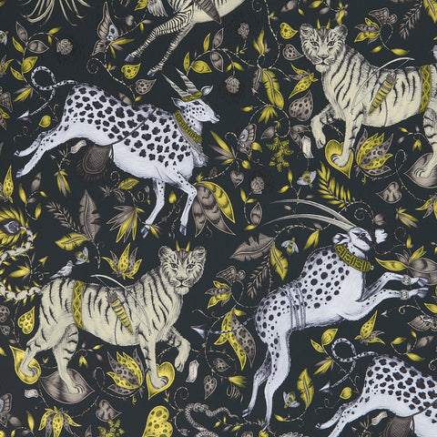 A close view of Protea Wallpaper in Grey, showing a detailed look at the Proteas, Zebras and Tigers. Designed by Emma J Shipley as part of the Wilderie collection