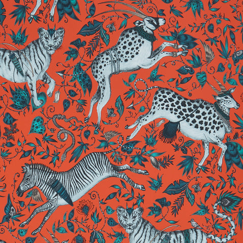 A close view of Protea Wallpaper in Red, showing a detailed look at the Proteas and Zebras. Designed by Emma J Shipley as part of the Wilderie collection
