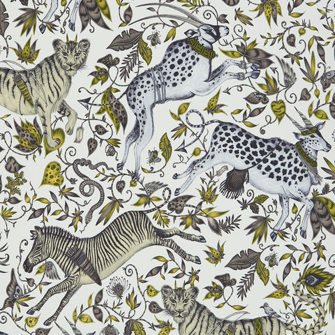 A  close view of Protea Wallpaper in Gold Yellow, showing a detailed look at the Proteas and Zebras. Designed by Emma J Shipley as part of the Wilderie collection