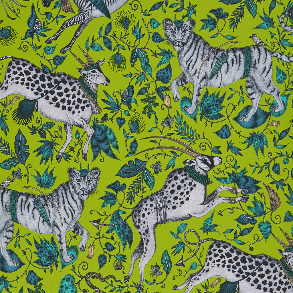 A close view of Protea Wallpaper in Lime, showing a detailed look at the Zebras and Proteas. Designed by Emma J Shipley as part of the Wilderie collection