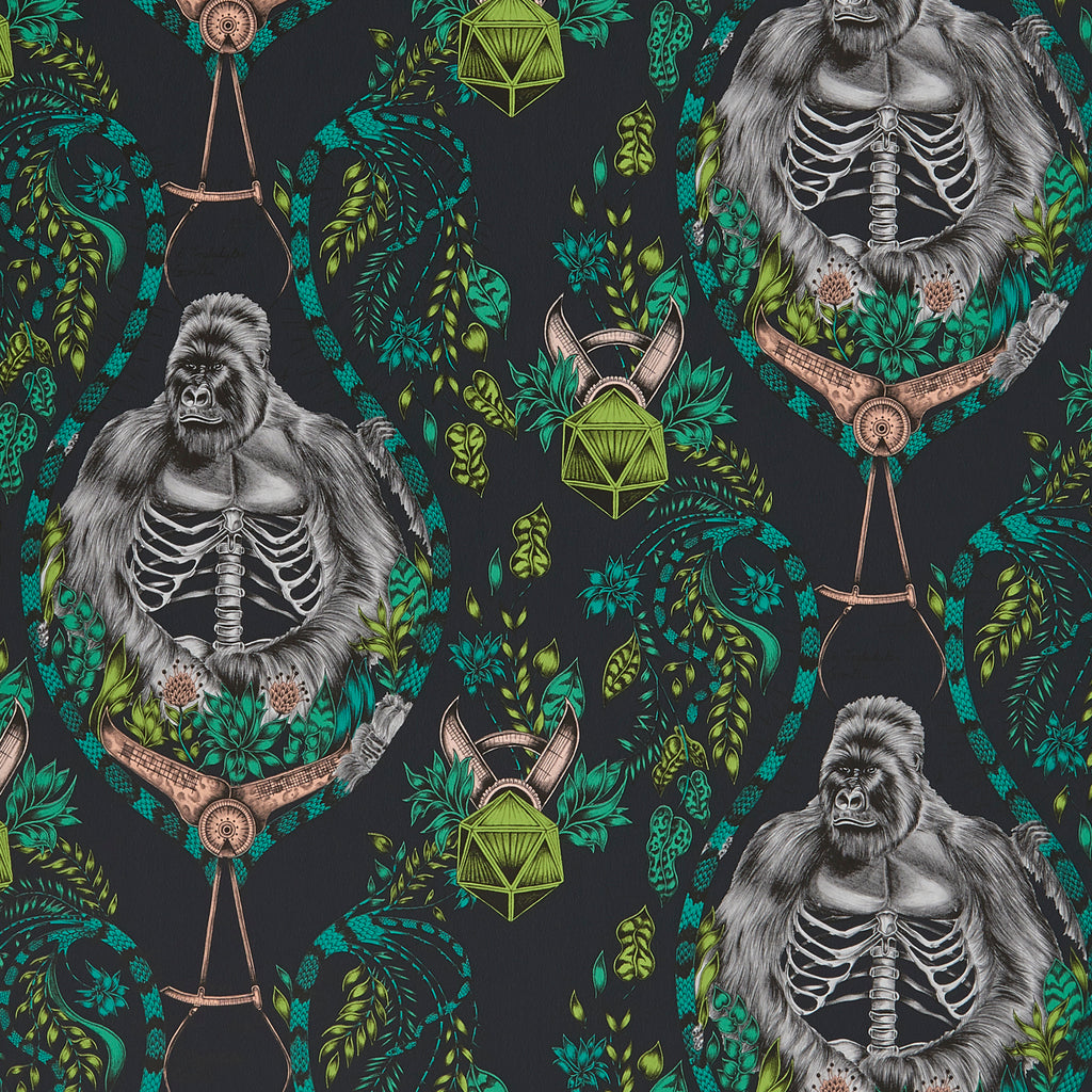 A close view of Silverback Wallpaper in Grey, showing a detailed look at the Gorillas, Palms and Ribs. Designed by Emma J Shipley as part of the Wilderie collection, the perfect backdrop to any deep colour schemed room.