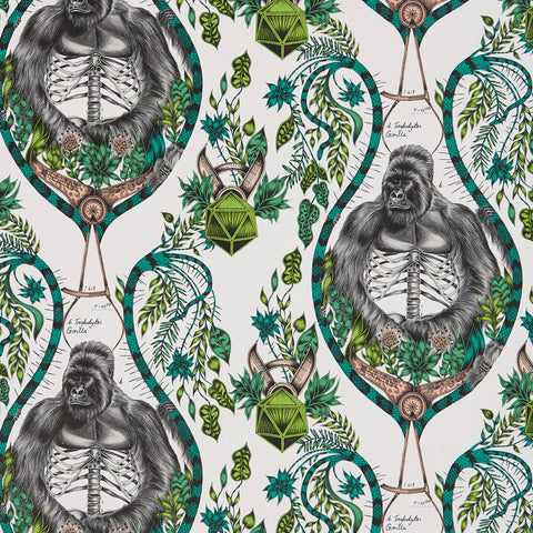 A close view of Silverback Wallpaper in Nude, showing a detailed look at the Gorillas and Palms. Designed by Emma J Shipley as part of the Wilderie collection the perfect light and fresh backdrop for any interior design theme.