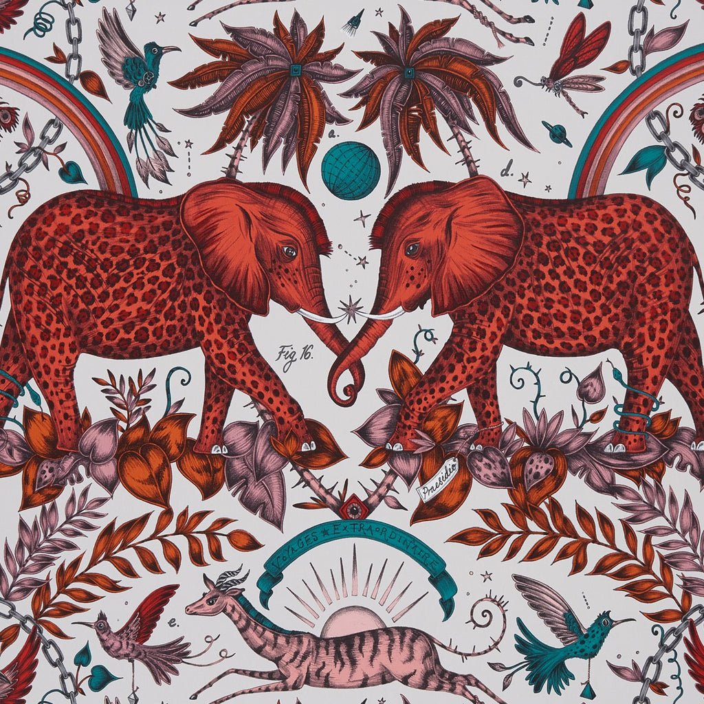 A close view of Zambezi Wallpaper in Red, showing a detailed look at the Elephants, Rainbows and Palms. Designed by Emma J Shipley as part of the Wilderie collection