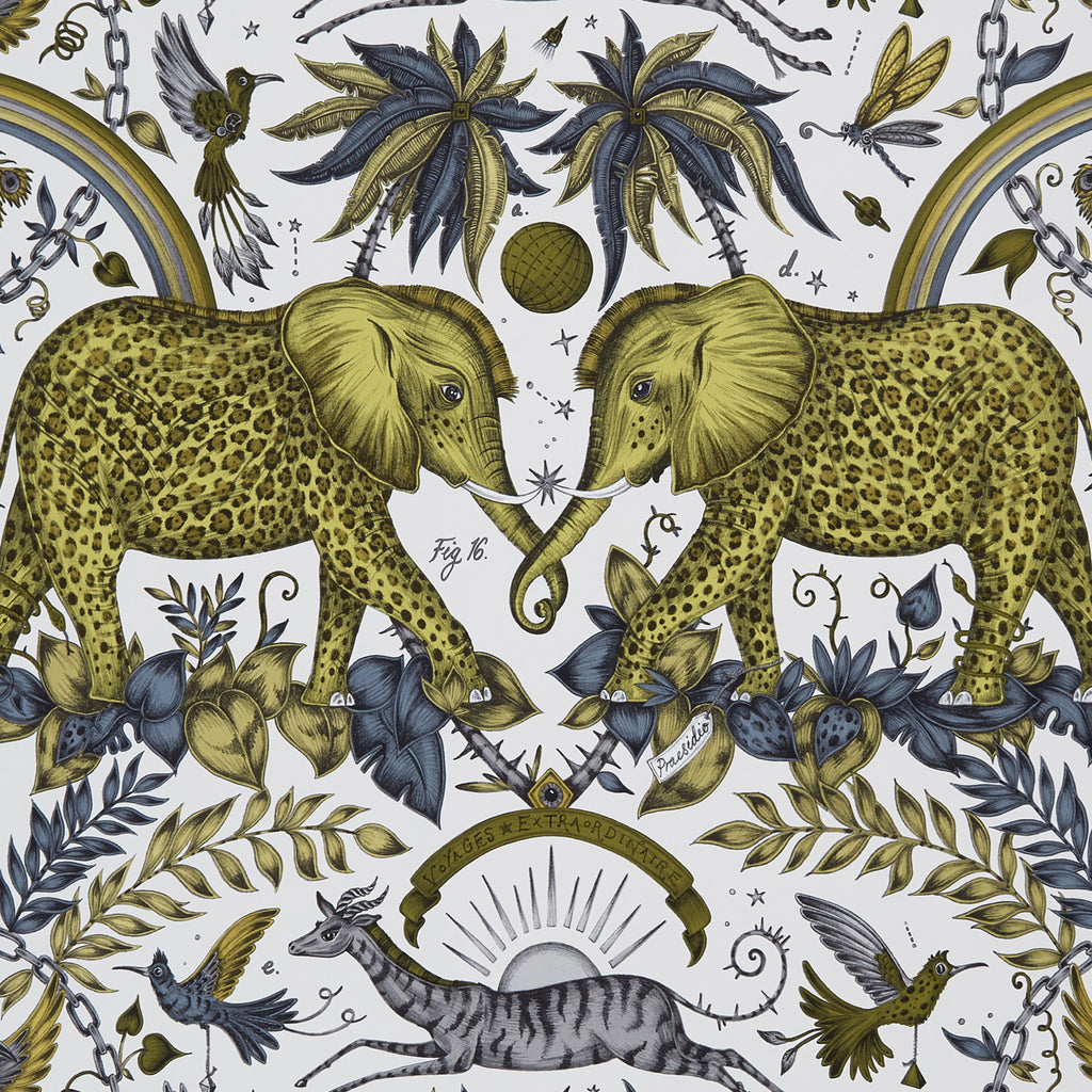 A close view of Zambezi Wallpaper in Gold, showing a detailed look at the Elephants, Rainbows and Palms. Designed by Emma J Shipley as part of the Wilderie collection