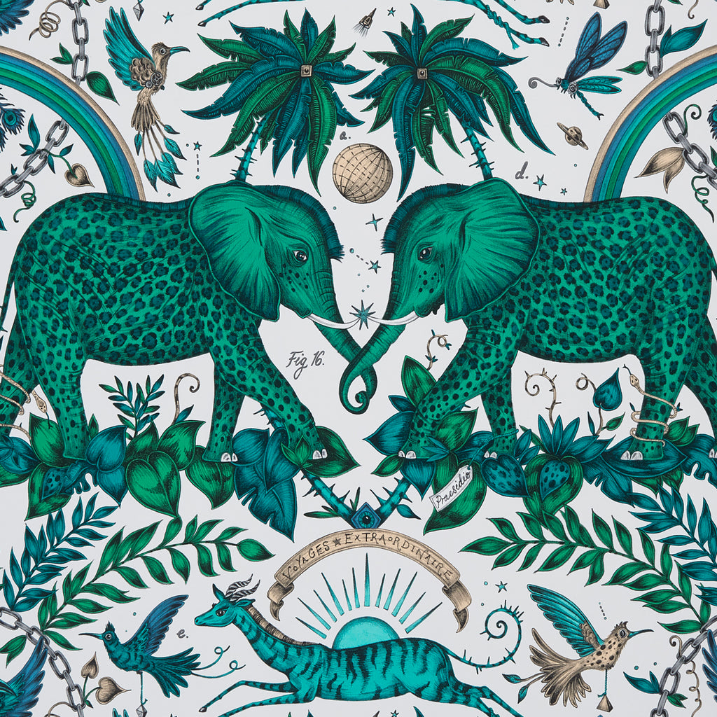 A close view of Zambezi Wallpaper in Turquoise, showing a detailed look at the Elephants, Rainbows and Palms. Designed by Emma J Shipley as part of the Wilderie collection