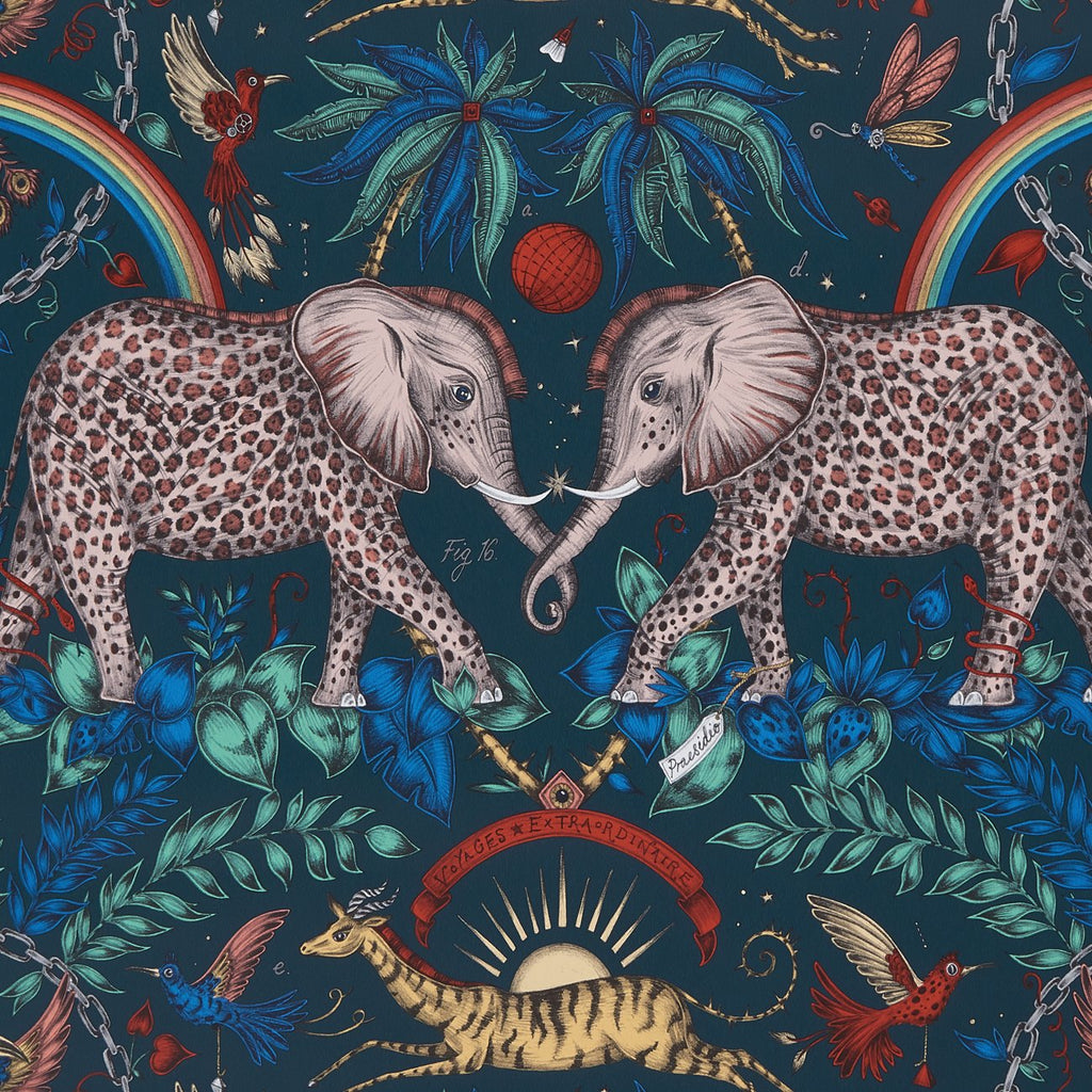 A close view of Zambezi Wallpaper in Navy, showing a detailed look at the Elephants, Rainbows and Palms. Designed by Emma J Shipley as part of the Wilderie collection
