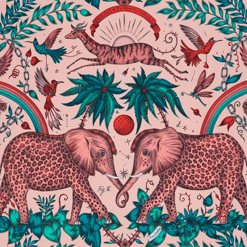 A close view of Zambezi Wallpaper in Pink, showing a detailed look at the Elephants, Rainbows and Palms. Designed by Emma J Shipley as part of the Wilderie collection