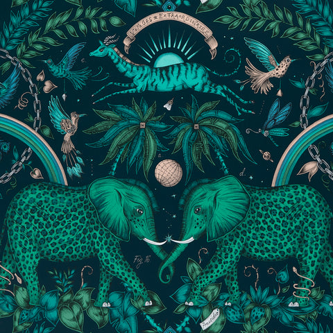 A close view of Zambezi Wallpaper in Teal, showing a detailed look at the Elephants, Rainbows and Palms. Designed by Emma J Shipley as part of the Wilderie collection