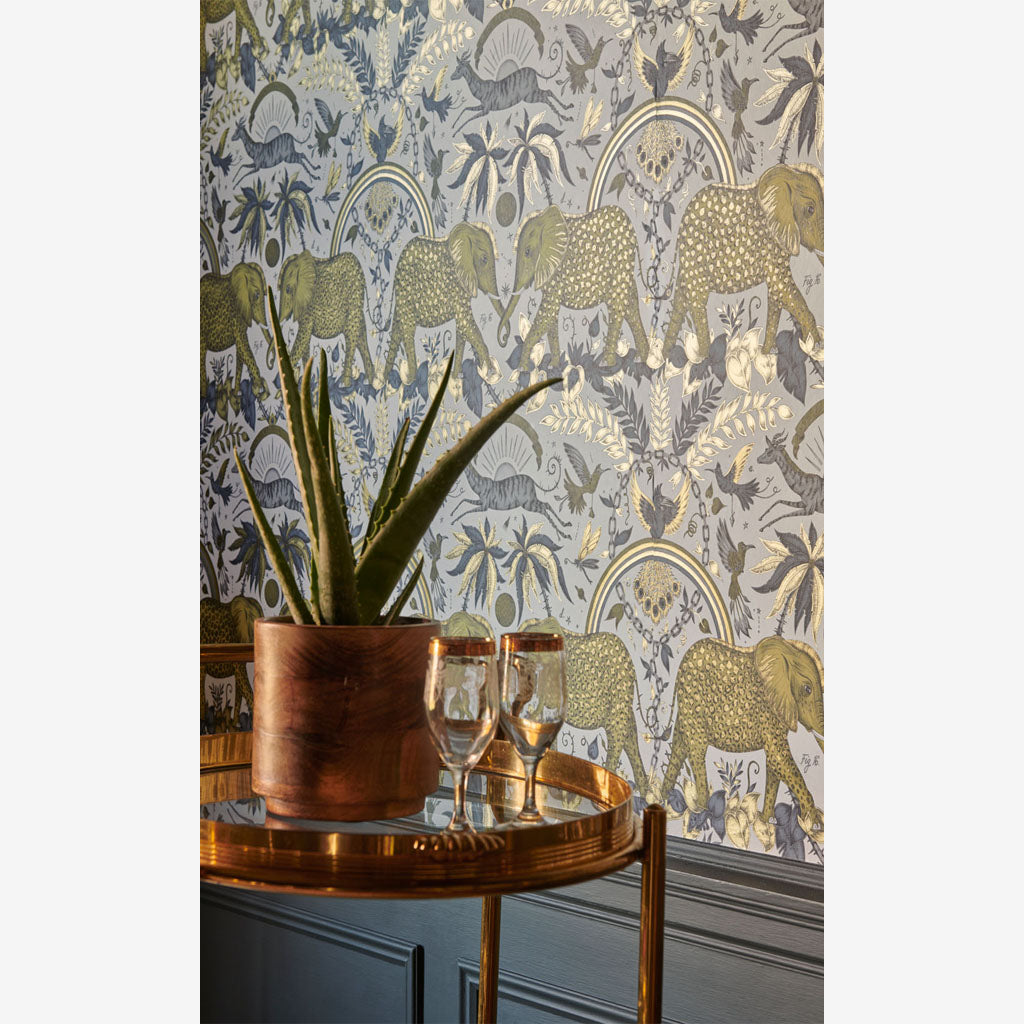 A Closer look at a wall covered in the new Zambezi Wallpaper, colour Gold. Part of the Wilderie Range, by Emma J Shipley with Clarke & Clarke