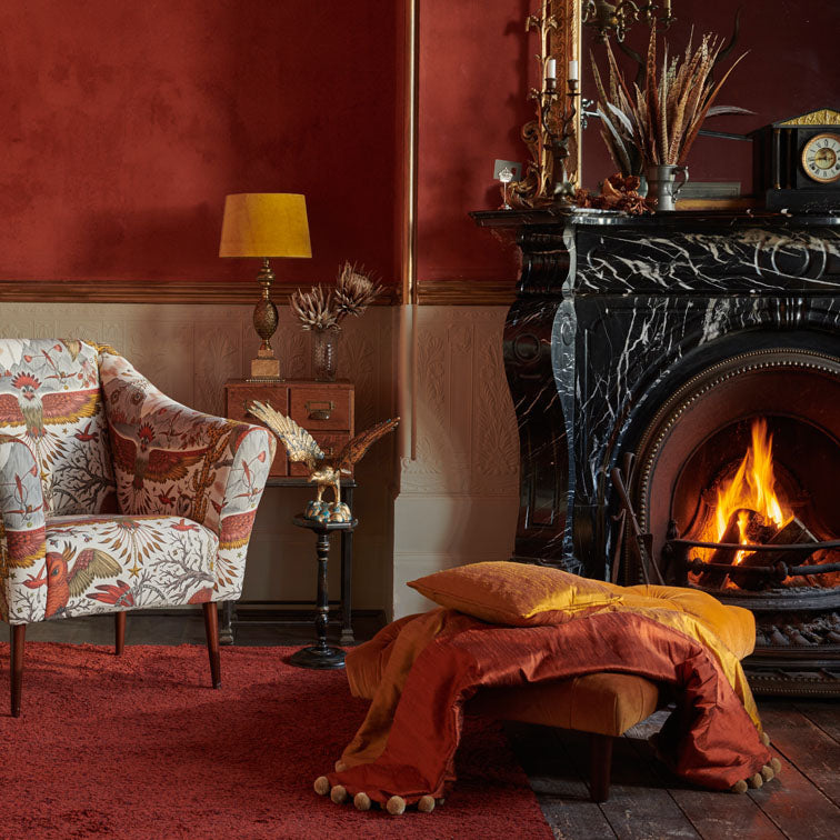 Sylph Silk in Autumn used to make a luxurious throw, the perfect addition to compliment your living space wither on it's own or to compliment the Wilderie collection, designed by Emma J Shipley X Clarke & Clarke
