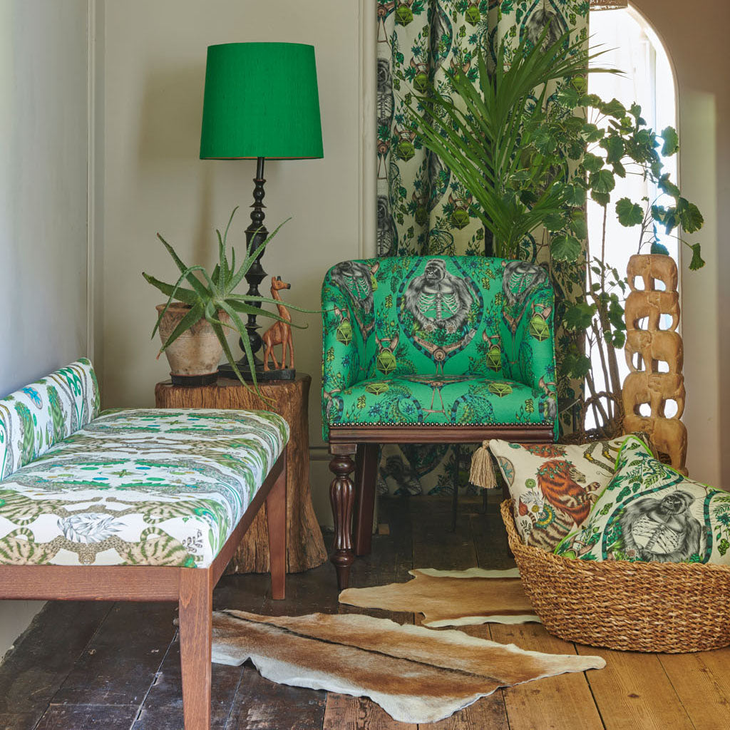 The Stunning Lime Silverback Linen Fabric from Emma J Shipley's Wilderie Collection made in collaboration with Clarke and Clarke, injecting exotic animals and bold colour into you home interior. This is great inspiration on how to use the Wilderie collection together but also in your own home.