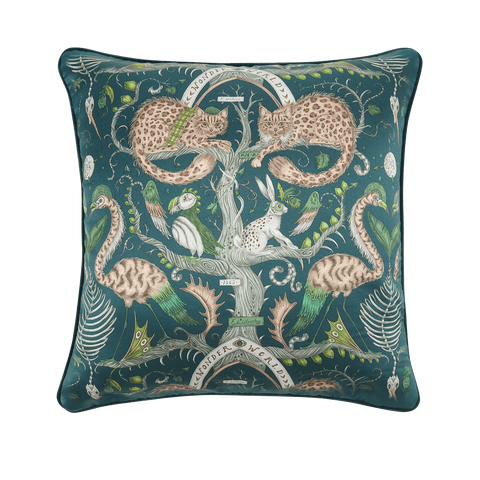 The Front of the Wonder World Teal silk cushion, featuring Scottish wildcats, flamingos, a hare and a puffin, designed by Emma J Shipley