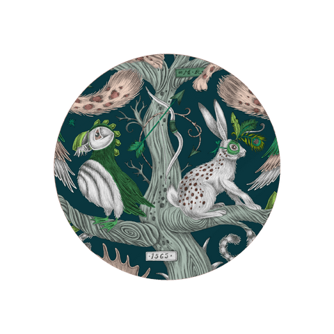 The Wonder World coaster in Teal  featuring a cheshire cat, tree trunk, puffin and a masked hare. Designed by Emma J Shipley