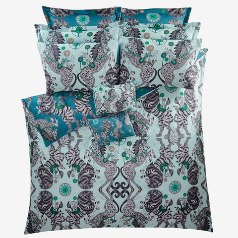 Transform your bedroom into a surreal Narnia inspired dream with the Caspian Duvet Cover in aqua, designed by Emma J Shipley. Featuring a striking scene of creatures including an English Lion and Mystical Spotted Unicorns all inspired by the Chronicles of Narnia.