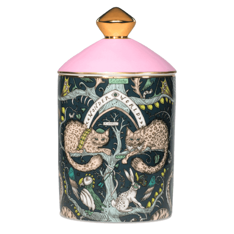 The Wonder World Candle features animals from the Scottish Highlands on the bone china vessel - designed by Emma J Shipley with scents created by Bahoma, this diffuser features notes of Bluebell & Musk