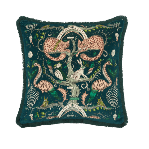 The Front of the Wonder World Teal Luxury velvet cushion, featuring Scottish wildcats, flamingos, a hare and a puffin, designed by Emma J Shipley